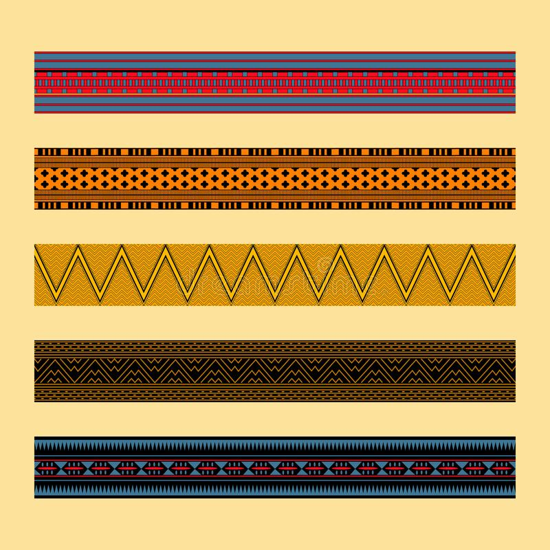 African traditional ornament. Borders with geometric ornament. royalty free stock images