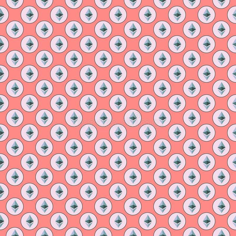 Background of cryptocurrency coin. Seamless pattern with Ethereum. stock image