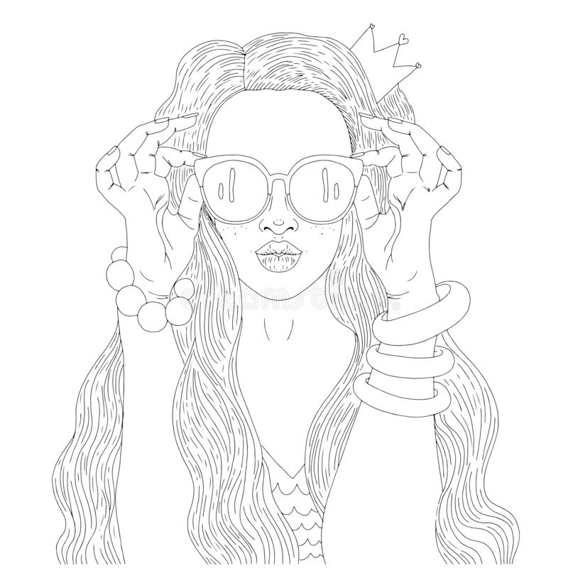 Beautiful girl in sunglasses and with a crown. Print for the adult coloring book.Portrait of a beautiful girl stock illustration