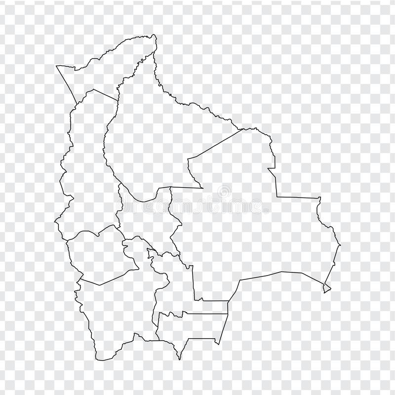 Blank map Bolivia. High quality map of  Bolivia with provinces on transparent background for your web site design, logo, app, UI. Stock vector. Vector stock illustration