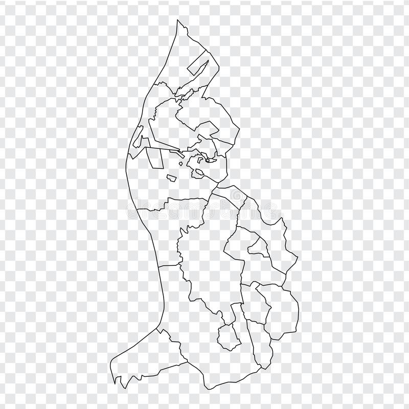 Blank map  Liechtenstein. High quality map of  Liechtenstein with provinces on transparent background for your web site design, lo. Go, app, UI. Stock vector royalty free illustration
