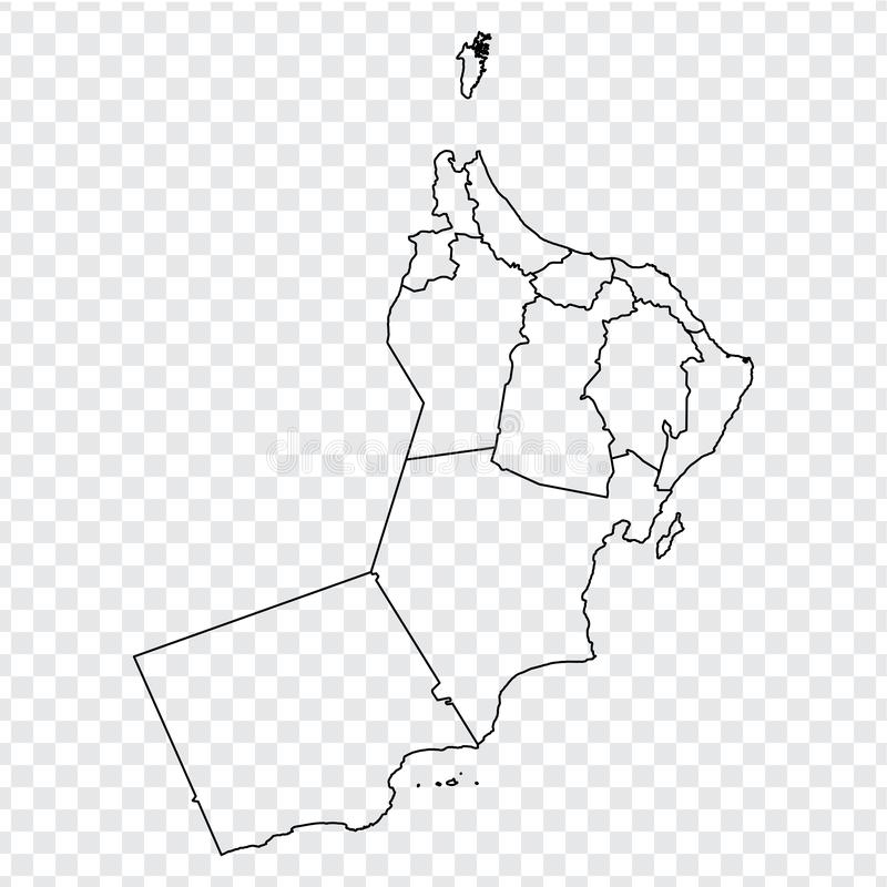 Blank map Oman. High quality map of  Oman with provinces on transparent background for your web site design, logo, app, UI. Stock vector. Vector illustration vector illustration