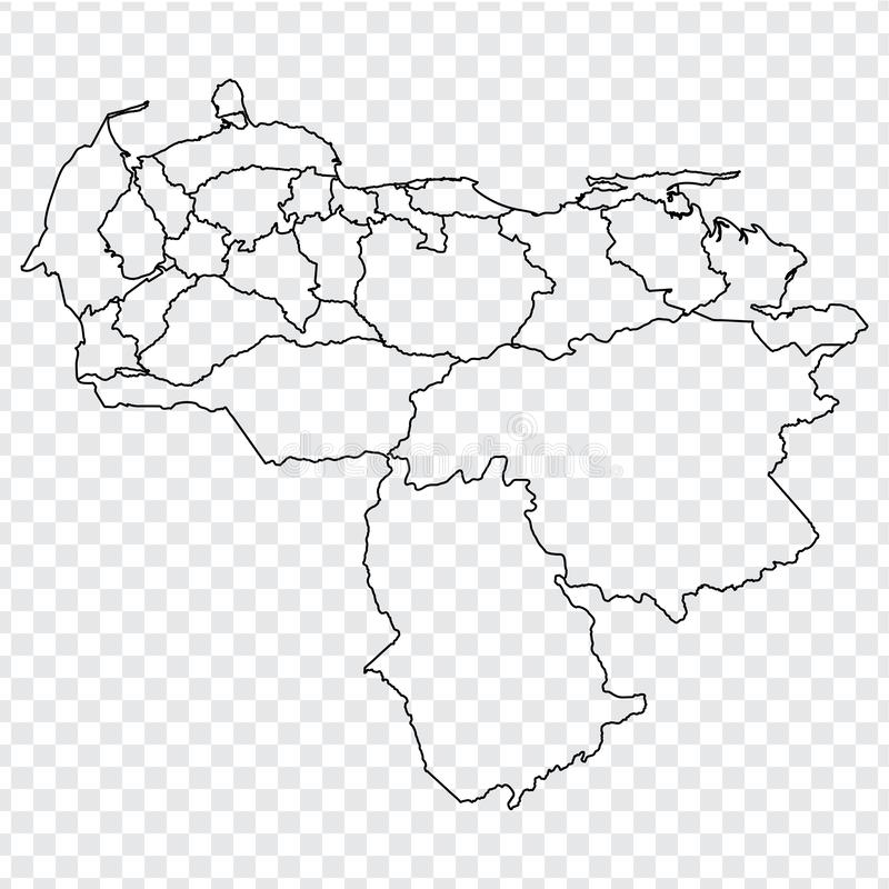 Blank map of Venezuela. High quality map Venezuela with provinces on transparent background for your web site design, logo, app, U stock image