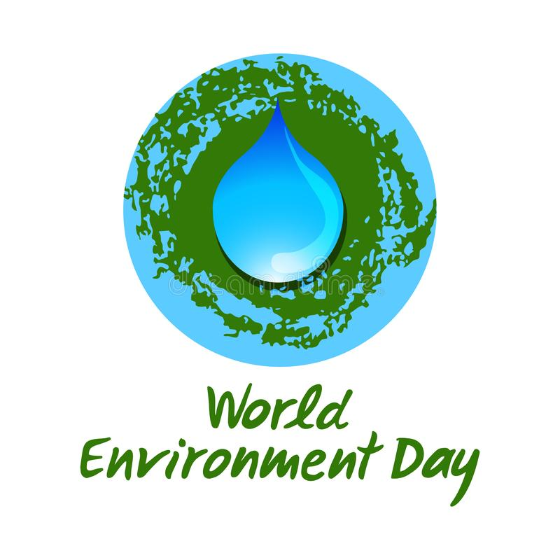 Blue drop of water on the planet Earth background. Hand drawn lettering of World Environment Day. royalty free illustration