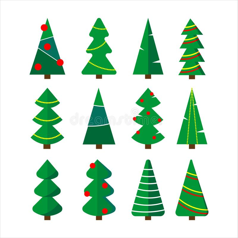 Christmas trees set. stock illustration