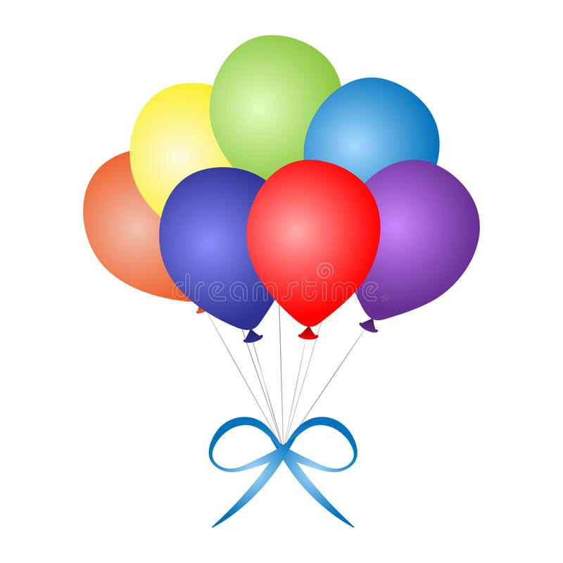 Colorful Bunch of Festive Balloons. Birthday baloons for party and celebrations. stock images