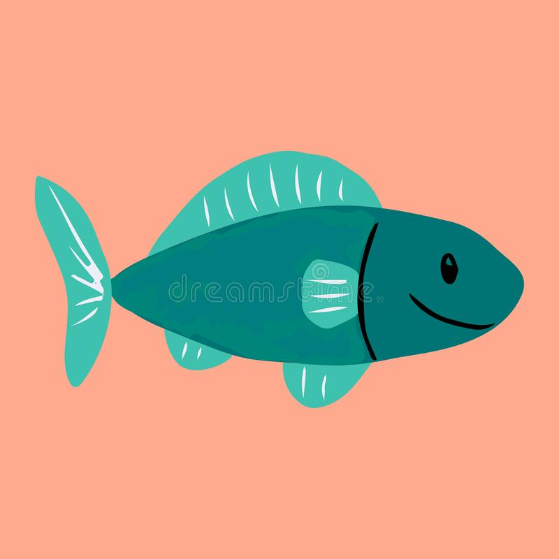 Colorful cartoon fish illustration. Element for summer design. stock photography