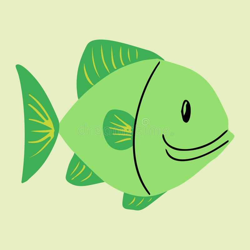 Colorful cartoon fish illustration. Element for summer design. royalty free stock photography