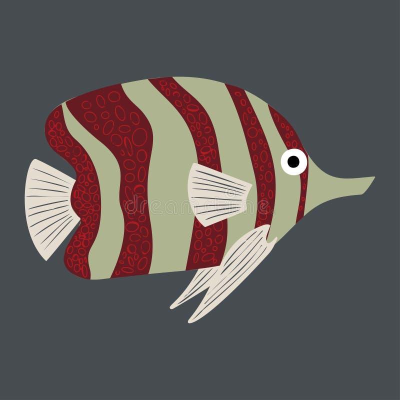 Colorful cartoon fish illustration. Element for summer design. stock photo
