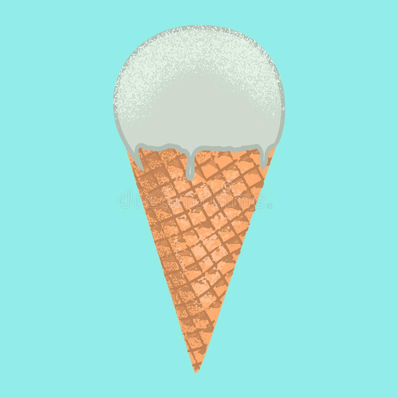 Colorful cartoon ice cream illustration. Element for summer design. royalty free stock photography