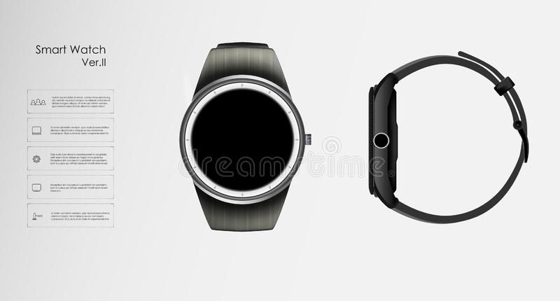 Smart watches. A vector illustration of a pair of black smart watches on a white background vector illustration