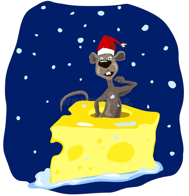 Confused funny cartoon brown rat in a red cap climbs out of a piece of cheese royalty free illustration