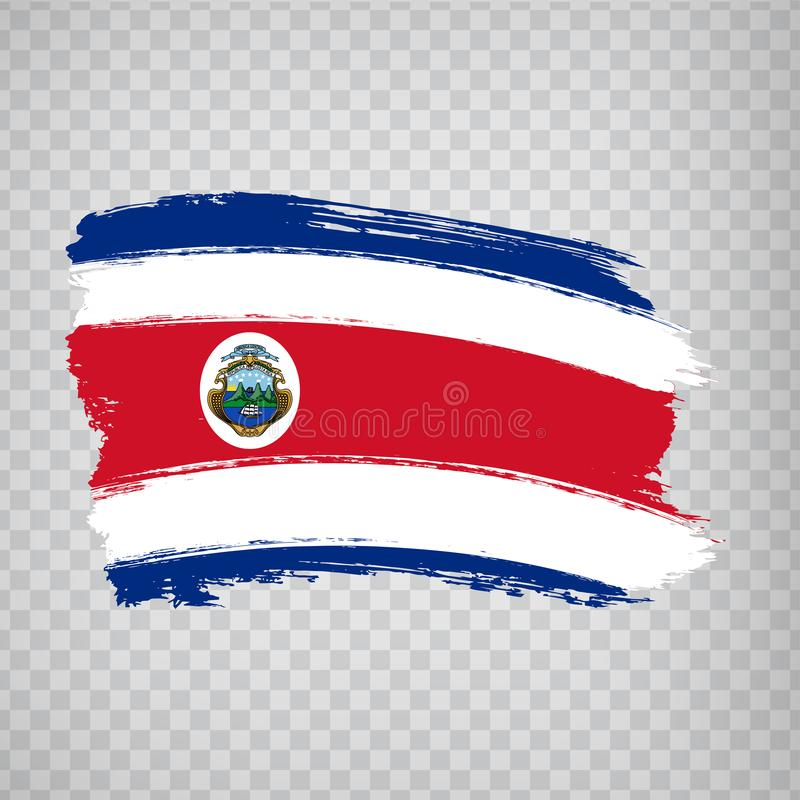 Costa Rica Flag isolated. Flag of Costa Rica, brush stroke background. Flag Costa Rica on transparent background. Flag State of Co. Sta Rica for your web site royalty free illustration
