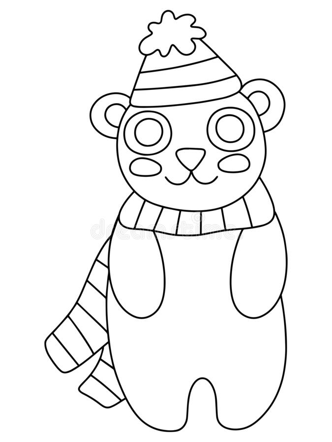 Cute Little Bear With Hat And Scarf Coloring Page Stock Vector Illustration Stock Vector Illustration Of Book Activity 201431822
