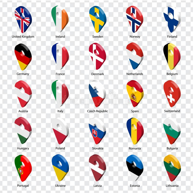 3D geolocation signs of twenty five European countries with inscriptions. Set of  twenty five 3d geolocation icons on transparent royalty free illustration