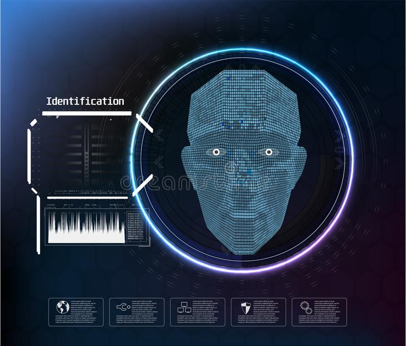Face digital recognition, id faces biometric scanning to safe access abstract vector futuristic background. vector illustration