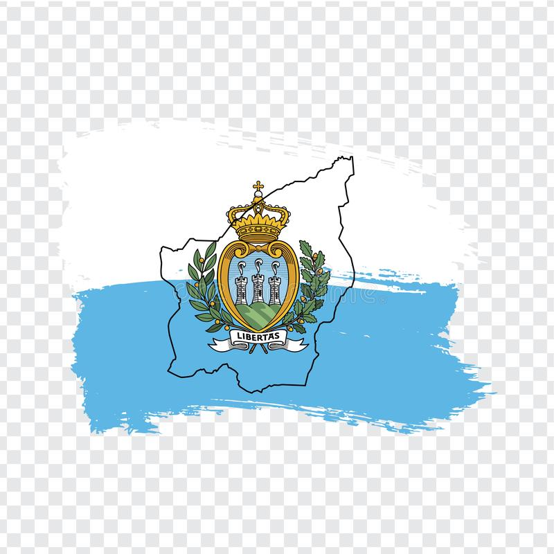 Flag of San Marino from brush strokes and Blank map Republic of San Marino. High quality map San Marino and flag on transparent ba vector illustration