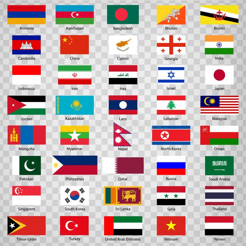 Forty flags of Asian countries. List of  Forty flags of Asia countries with inscriptions and original proportions on transparent b. Ackground. Flags for your web vector illustration