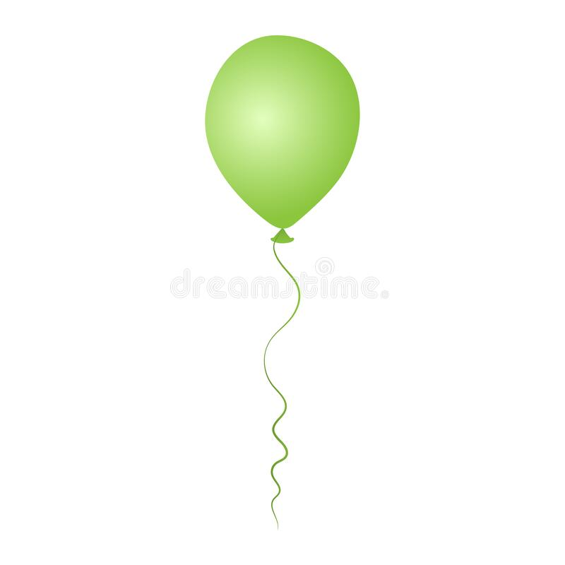 Green helium balloon. Birthday baloon flying for party and celebrations. Isolated on white background. stock images