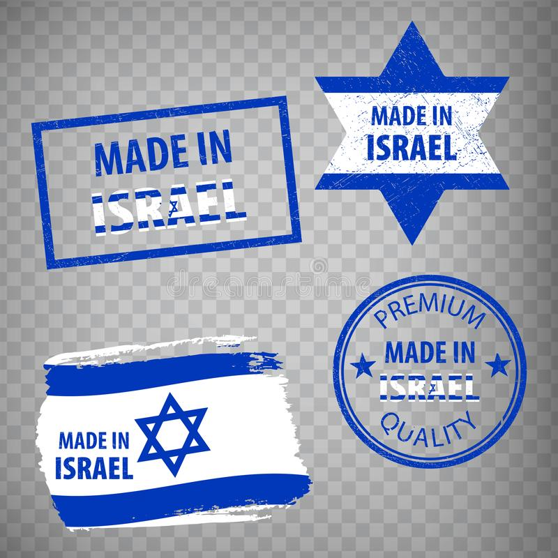 Made in the Israel rubber stamps icon isolated on transparent background. Manufactured or Produced in Israel.  Set of grunge rubbe vector illustration