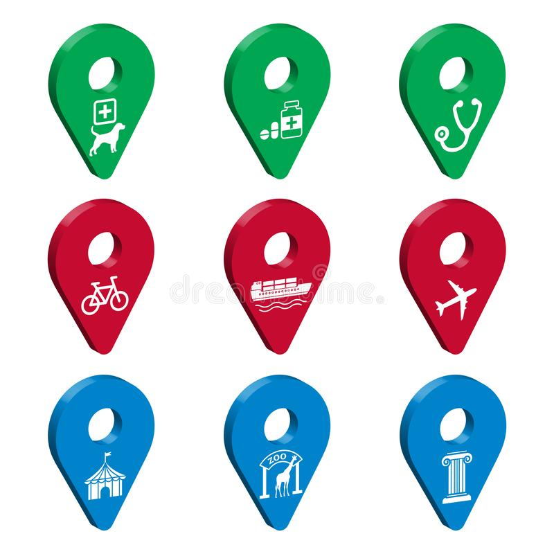 Map pointer 3d pin for Smart City. Set of 3D geolocation signs with icons.  Transport, medicine, attractions. Location symbols vec. Tor set isolated on white royalty free illustration