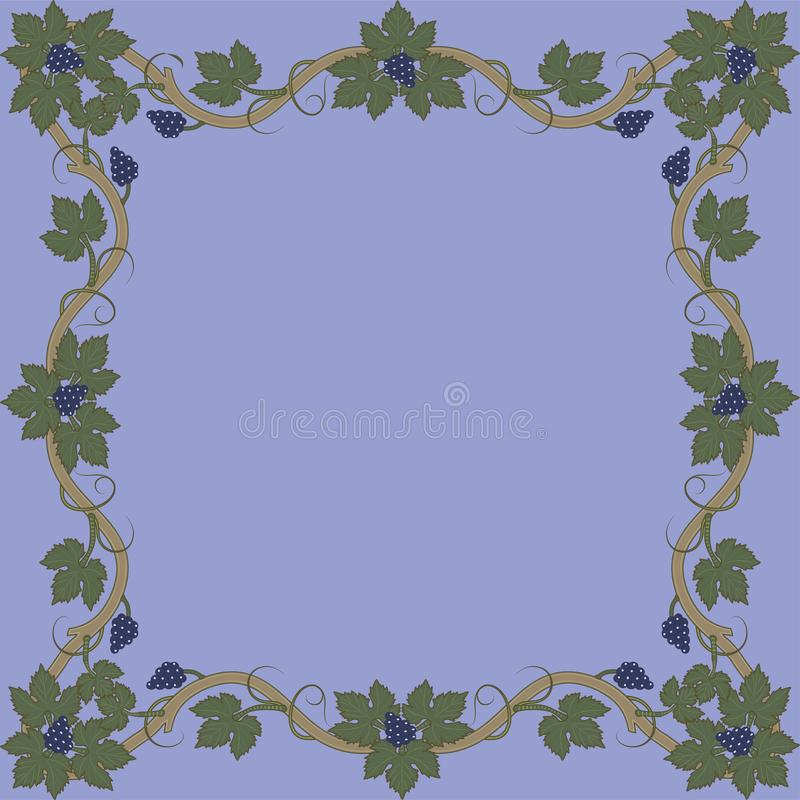 Medieval floral frame with bunch of grapes, grape leaves, swirls. royalty free illustration