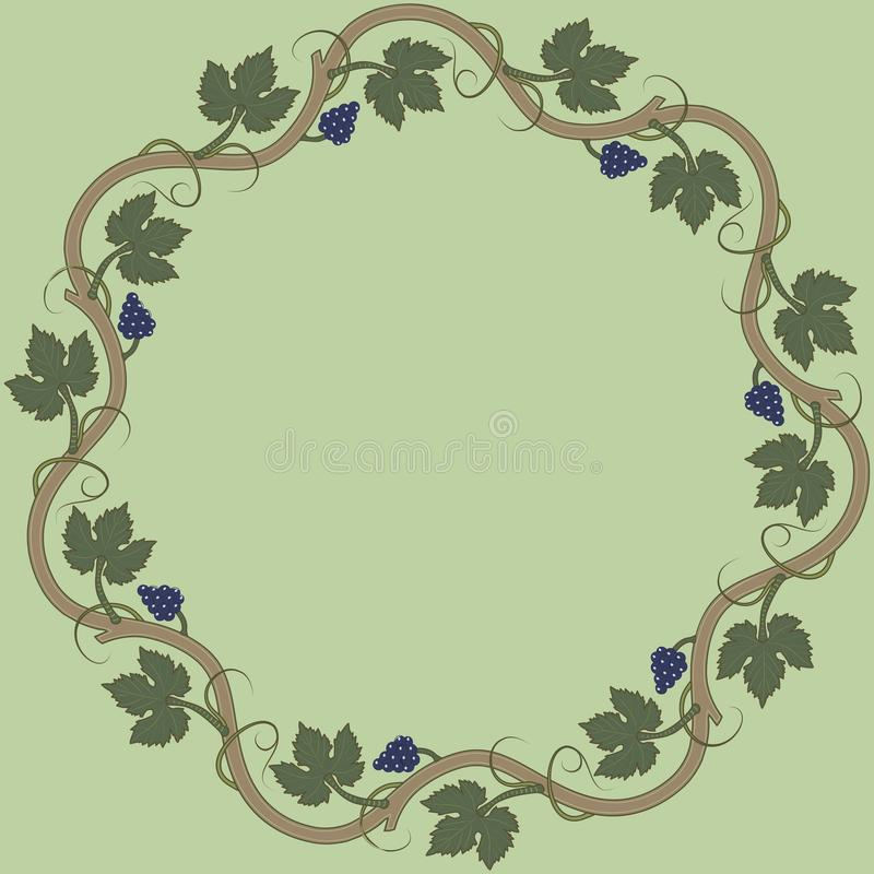 Medieval floral frame with bunch of grapes, grape leaves, swirls. vector illustration