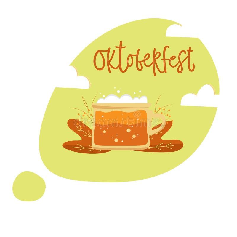 Основные RGB. Oktoberfest hand drawn vector lettering and beer mug foam . Isolated on white background. Illustration of  Bavarian royalty free illustration