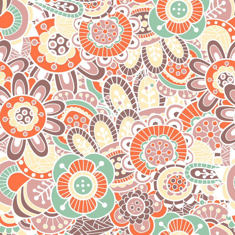 Pattern of red and green simple retro flowers. In vector stock image