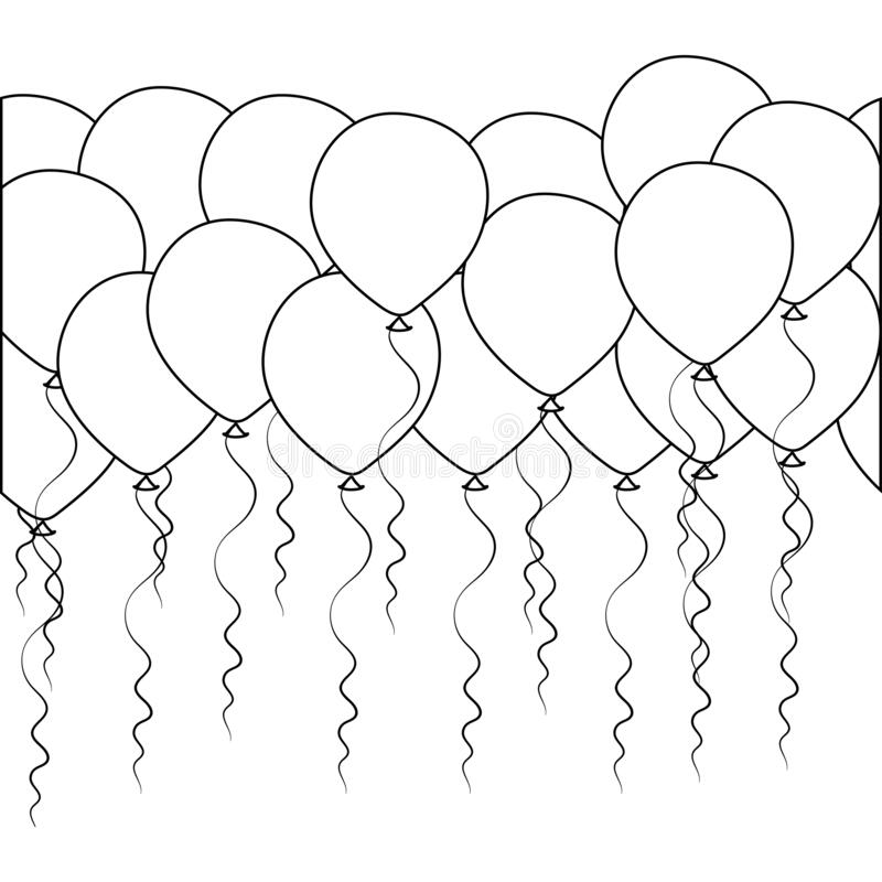 Seamless border of helium balloons. Birthday baloons for party and celebrations. stock image