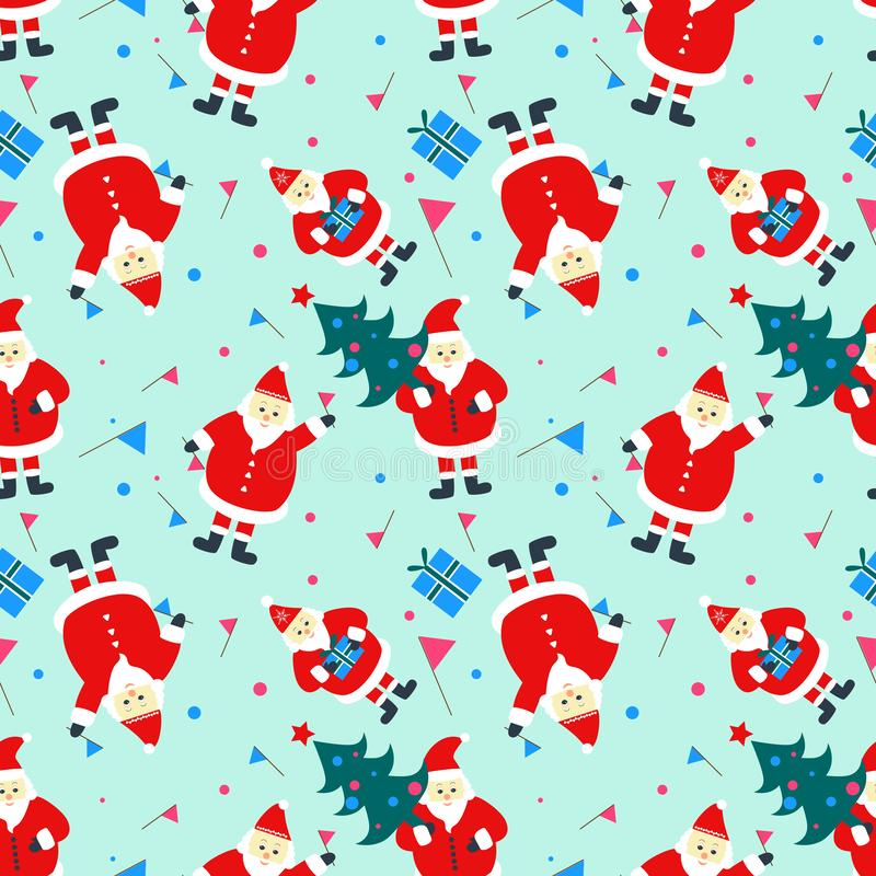 Seamless pattern with happy new year symbols: Santa Claus, Christmas tree, gifts. vector illustration