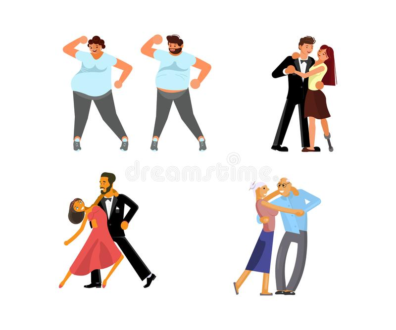 Set of dancing couples stock illustration