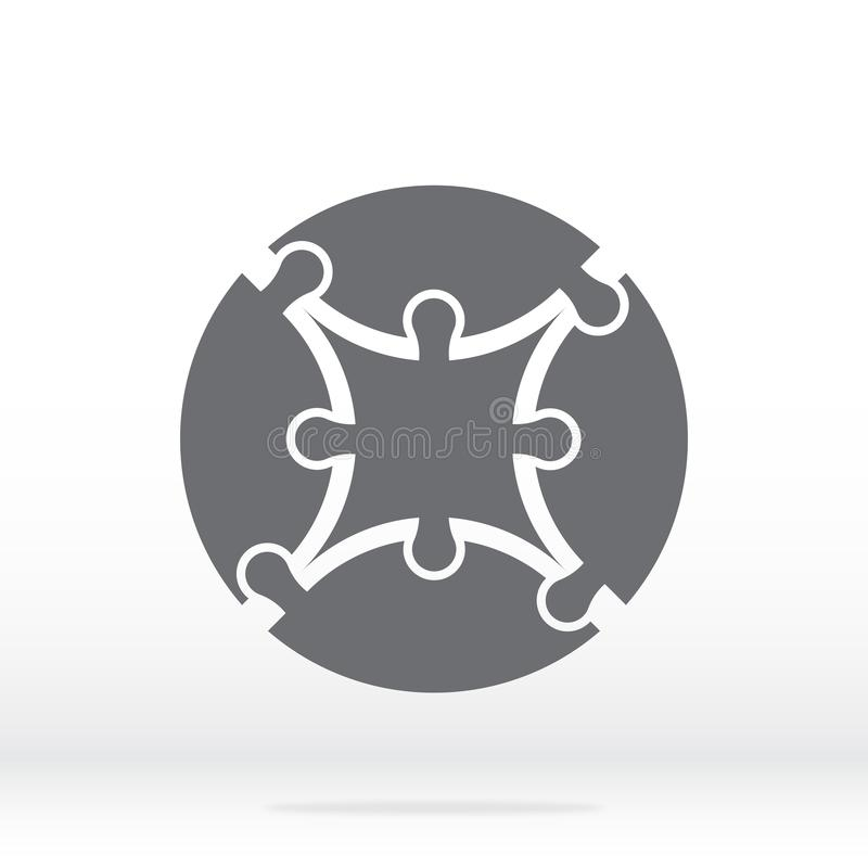 Simple icon circle puzzle in gray. Simple circle puzzle of four pieces  and center on gray background. Flat design. vector illustration