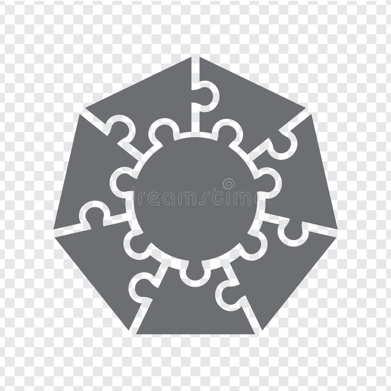 Simple icon heptagon puzzle in gray. Simple icon polygon puzzle of the  seven elements and center on transparent background vector illustration