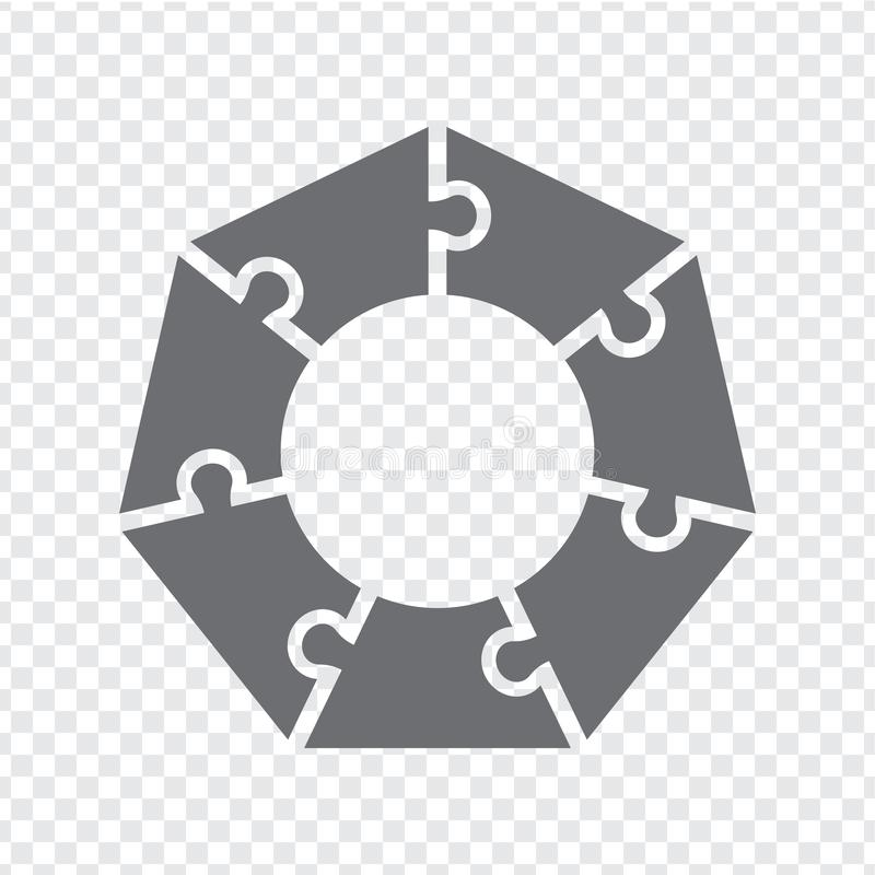 Simple icon heptagon puzzle in gray. Simple icon polygon puzzle of the  seven elements on transparent background royalty free illustration