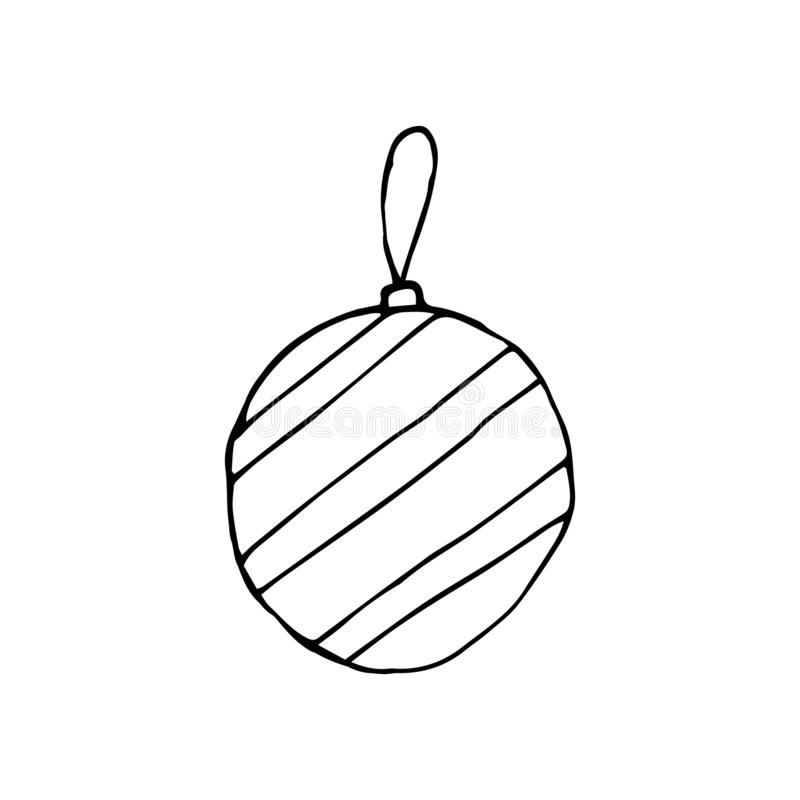 Stock Vector Illustration with Sketch Hand Drawn Doodle Cartoon Christmas Ball for Christmas Tree Decoration stock illustration