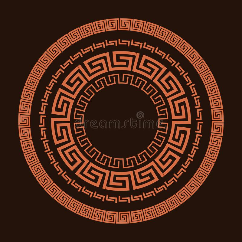 Traditional simple meander. Terrakota circle frame on the brown background. Ancient Greek ornament. stock images