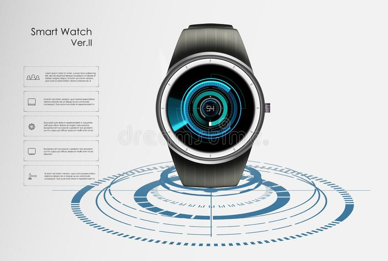 Vector realistic illustration of concept smart watch, technology functions and template text. Smart watch vector illustration royalty free illustration
