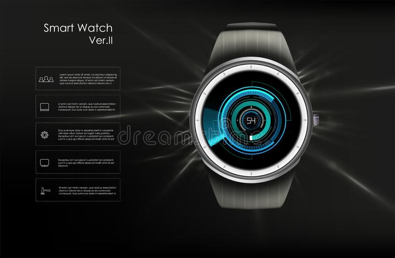 Vector realistic illustration of smart watch, technology functions and template text. Smart watch vector illustration vector illustration