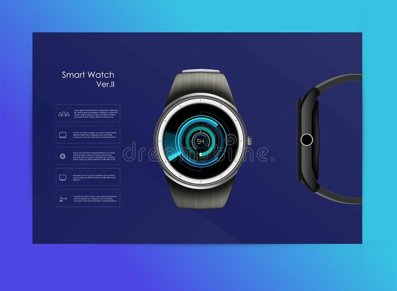 Vector realistic illustration of smart watch, technology functions and template text. Smart watch vector illustration royalty free illustration