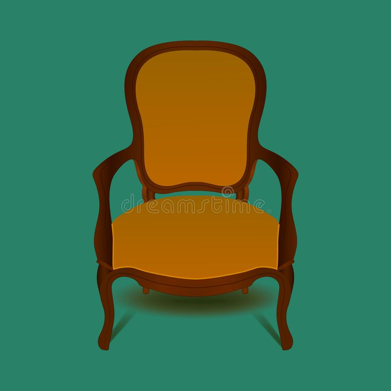 Retro brown armchair on green background. royalty free illustration
