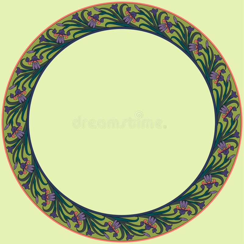 Vintage round frame with irises. Art Nouveau style. Vector vector illustration