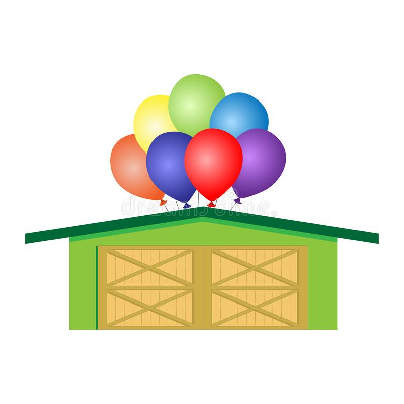 Warehouse with a bunch of balls on the roof. Concept for business related to balloons. Isolated on white background. stock photography