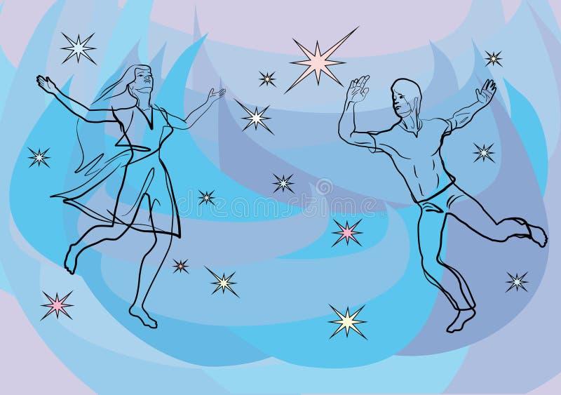 Основываясь на теме любви, человек и девушка на фоне голубого неба и звезд иллюстрация штока