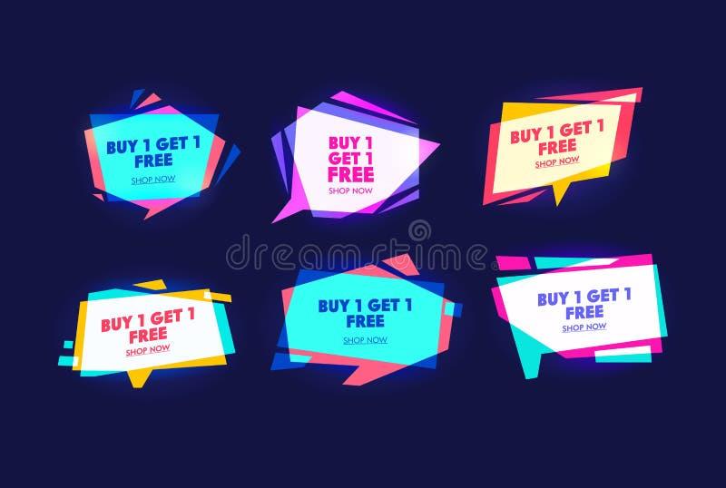 Особенный коммерчески набор знамени оформления кампании Купите часть и получите одно свободный Покупки выходных и праздника Предл бесплатная иллюстрация