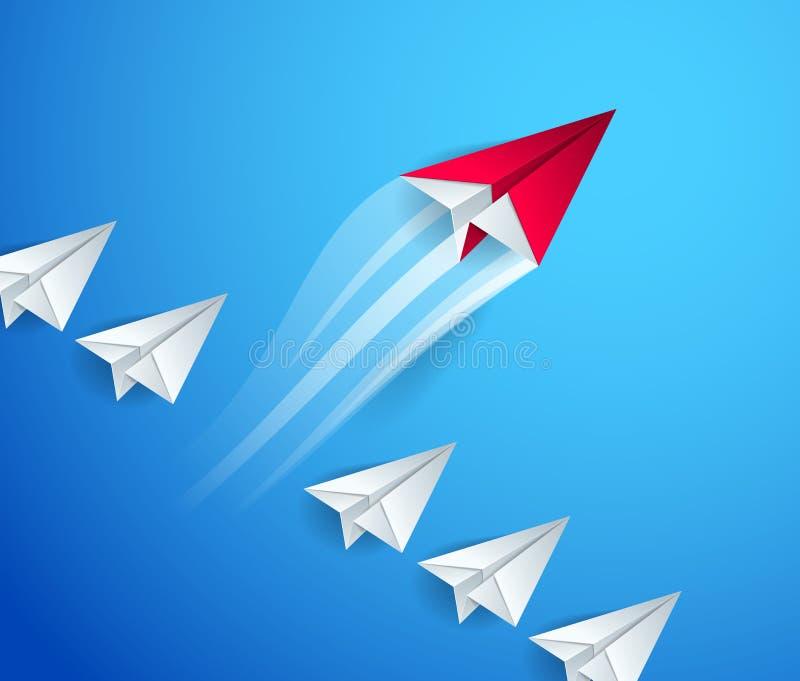 Особенный, сперва пионерский, руководитель, руководство и концепция успеха, линия самолетов одного игрушки бумаги origami их стои иллюстрация вектора