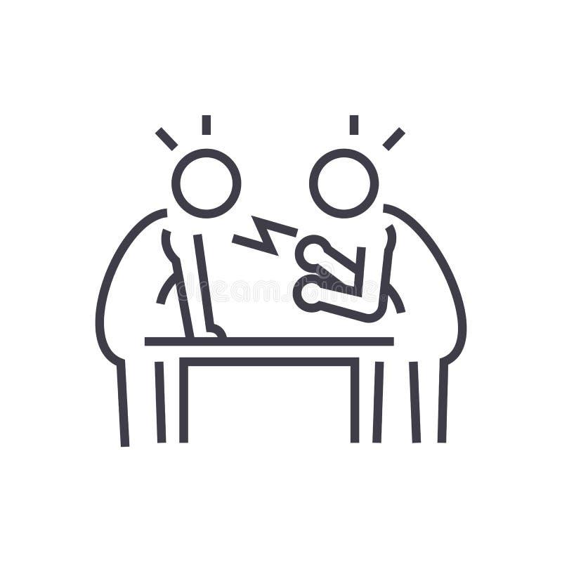 Оспорьте, дебатируйте, линия значок вектора переговора, знак, иллюстрация на предпосылке, editable ходах иллюстрация вектора