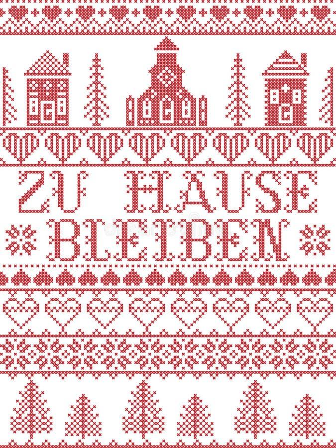 Оставайтесь дома в немецком стиле Zu Hause Bleiben North в красно-белом Скандинавском сельском ландшафте сообщение из-за вируса C иллюстрация штока