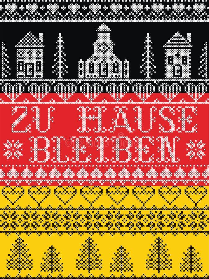 Оставайтесь дома в немецком стиле Zu Hause Bleiben Northern на фоне немецкого флага, Scandinavian Village альбомное сообщение из- иллюстрация штока