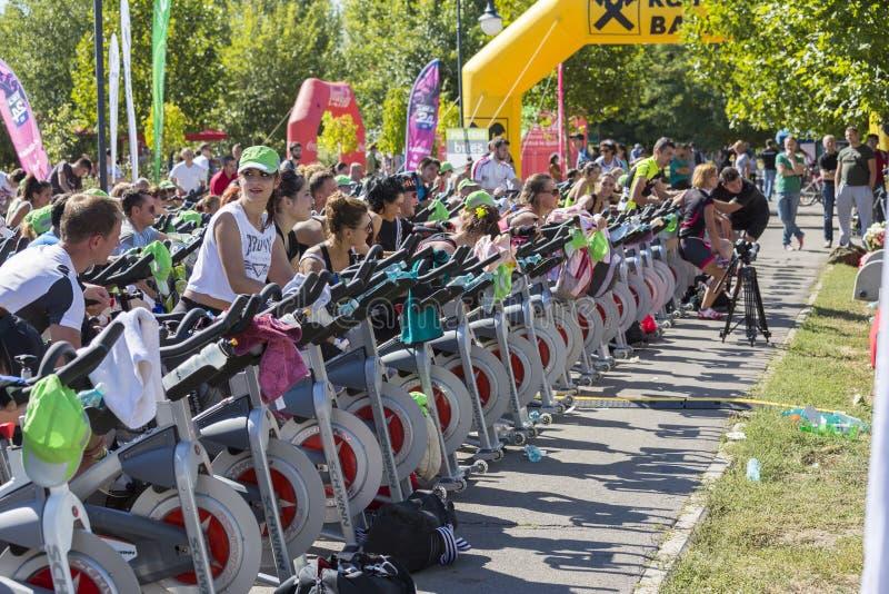 Оставаться в форме используя неподвижные велосипеды стоковое фото rf